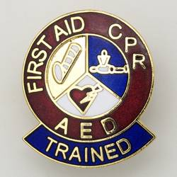 first aid CPR ARD lapel pin
