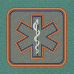 Reflective Square Star of Life Patch star of life, embroidered patch, reflective patch,