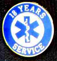 18 Year EMS Service Pin