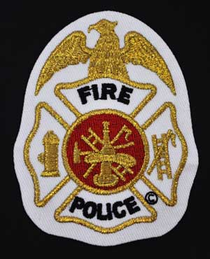 Fire Police Badge,-Gold