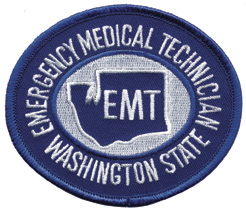 Washington State EMT Patch White on Navy
