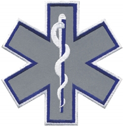 "Reflective Star of Life 4"" with Navy Blue Outline"