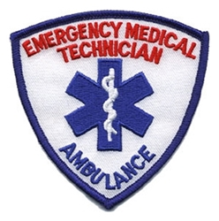 EMT Shield Patch Blue/Red on White