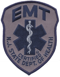 New Jersey EMT Patch Navy Blue on Grey