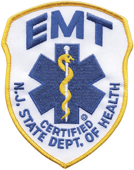 New Jersey EMT Patch Royal on White