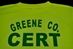 back of Community Emergency Response Team Tee Shirt. This shirt back will just say CERT in green.