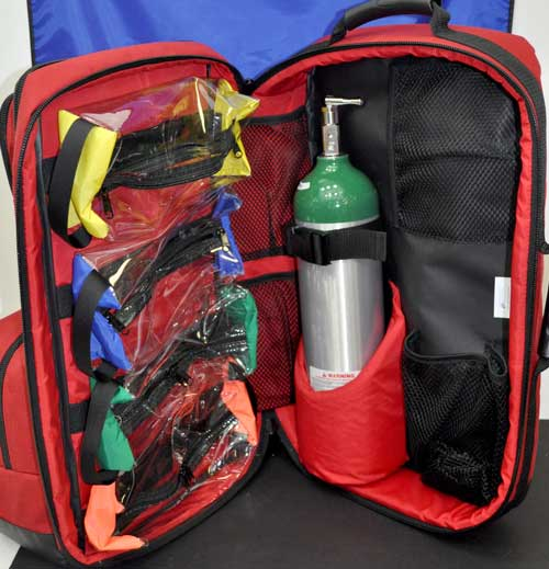 Red O2 Trauma AED Backpack for emts, paramedics and first
