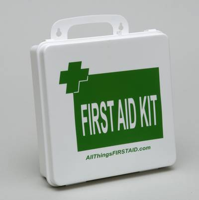 ANSI/ISEA Z308.1-2015 CLass B first aid kit in a plastic case