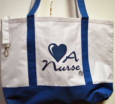 Love a Nurse Blue Totebag Nursing gift, tote bag, nursing graduation