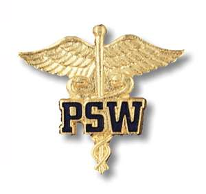 Patient Service Worker on Caduceus Emblem pin