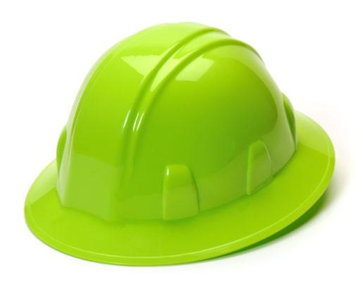 Lime Green Hi Viz Full Brim Hard Hat