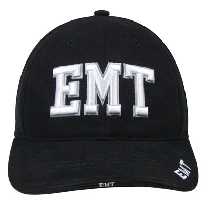Deluxe Black Low Profile ''E.M.T.'' Ball Cap emt cap, emt ballcap, ems ball cap,