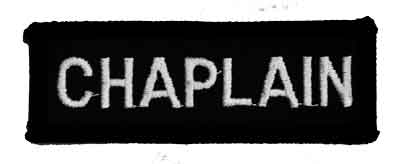 Embroidered Black Chaplain Chest Bar with White Lettering