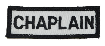 White chaplain chest patch embroidered