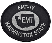 Washington State EMT-IV patch in Navy and White