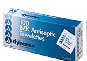 BZK Antiseptic Towelettes - Box of 100 ( no alcohol)