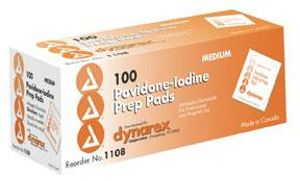 Povidone Iodine Prep Pad, Medium - 100/box; 10 boxes/case