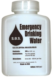 Emergency water in 500 ml bottles