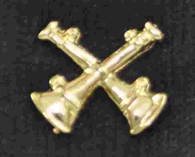 Double Crossed Bugle Pin Sold in pairs