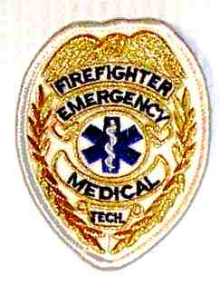 Firefighter Emergency Medical Tech Badge,-Gold