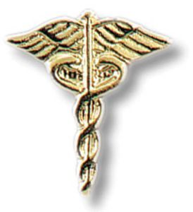 Gold plated Caduceus Tacs - set of 2