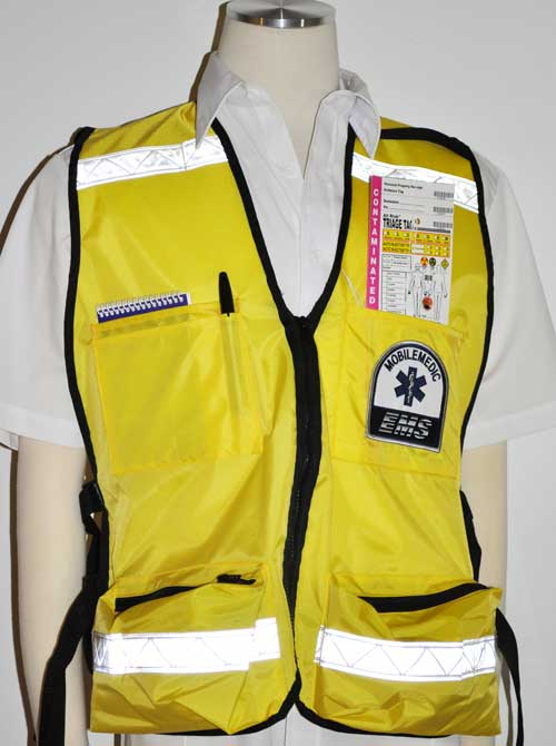 Picture on the front of the vest with items in the upper pockets