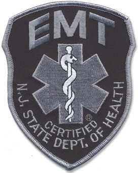 New Jersey EMT Patch Grey on Black