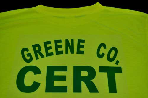 Greene co. VA Team CERT Tee Shirts CERT, CERT Team, Polo Shirt, Lime green, Safety Yellow,