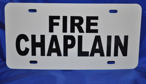 Fire Chaplain Visor License Placard Chaplain, sign, license plate, window, visor, fire chaplain, nims chaplain