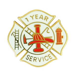 Fire Department 1 Year of Service Award Pin for firefighters